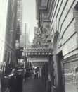 Broadway street scene in black and white Royalty Free Stock Photo