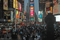 Broadway at times square new york city a warm fall evening Stock Images