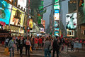 Broadway at times square new york city a warm fall evening Stock Image