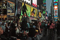 Broadway at times square new york city a warm fall evening a statue of george m cohen overlooks the scene Stock Images