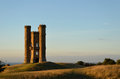 Broadway tower at sunset the on a hill in the cotswolds in england uk Royalty Free Stock Photo
