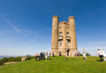 Broadway tower tourist visiting viewpoint located on hill in the cotswolds england summertime Stock Photos