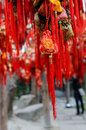 Brocaded sachets china colorful were hung on branches as a sort of chinese traditional custom by people praying for blessing at Royalty Free Stock Image