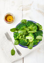 Broccoli, baby spinach and green beans salad Royalty Free Stock Photo