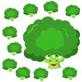 Broccoli cartoon with many expressions Stock Photo