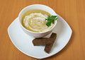 Broccoli cream soup on table closeup Royalty Free Stock Images