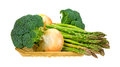 Broccoli Florets Onions Asparagus In Basket Side Royalty Free Stock Photo