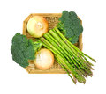 Broccoli Florets Onions Asparagus In Basket Top Stock Photo