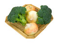 Broccoli florets onions in basket side a view of two and three large sweet a on white Royalty Free Stock Image