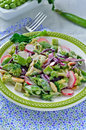 Broccoli radish salad chopped with sugar snap peas radishes red cabbage almonds Royalty Free Stock Photography