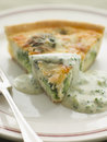 Broccoli and Roquefort Quiche with Broccoli sauce Stock Photo