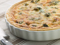Broccoli and Roquefort Quiche in a Flan Dish Royalty Free Stock Image