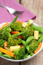 Broccoli salad with carrot ,baby corn and snap pea Stock Photography