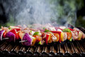 Brochette grilling on a special barbecue grid Stock Photo