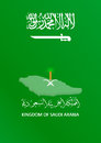 Brochure cover design layout with kingdom of arabia saudie KSA flag , map in background