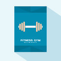 Brochure cover flat design with fitness barbell icon