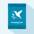 Brochure cover flat design with humming bird icon