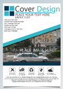 Brochure template for annual technology related reposts,vector design a4 layout with space for text and photos blue nine