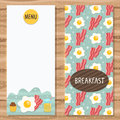 Brochure template for breakfast menu with egg bacon Stock Photography