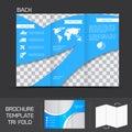 Brochure template tri fold blue logistics leaflet design back vector illustration Stock Images