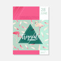 Brochure Template. Tropical Flowers and Flamingo Birds Summer Graphic Background, Exotic Floral Banner, Invitation, Flyer or Card