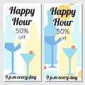 Brochures happy hours in minimalism style