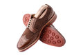 Brogues with shoe trees inserted Royalty Free Stock Photography