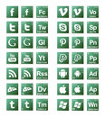 Broke bad social media icons in green gradients Royalty Free Stock Images