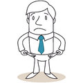 Broke businessman showing empty pockets vector illustration of a monochrome cartoon character his Royalty Free Stock Photo
