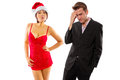 Broke on christmas girlfriend seducing or stressed boyfriend Royalty Free Stock Images