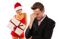 Broke on christmas girlfriend seducing or stressed boyfriend Stock Image