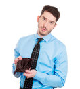 Broke and poor closeup portrait of sad upset unemployed guy fired employee jobless business man holding showing his empty wallet Royalty Free Stock Images