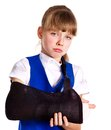 Broken arm in a cast. Royalty Free Stock Photography