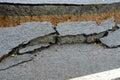 Broken asphalt road Royalty Free Stock Photo