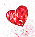 Broken bleeding heart with splatter watercolor red tears of blood droplets and blood Stock Photo
