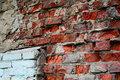 Broken brick red and white wall Royalty Free Stock Photo