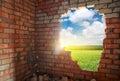 Broken bricks wall Royalty Free Stock Photo