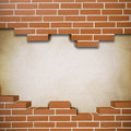 Broken brickwall background red with canvas texture in the Royalty Free Stock Image