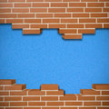 Broken brickwall background red with cork blue texture in the Stock Images