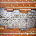 Broken brickwall background red with grunge wall in the Royalty Free Stock Photography
