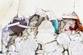 Broken brickwork lines and masonry symbol photo for rehabilitation needs demolition and bungling Stock Photo