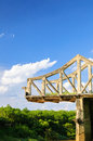Broken bridge on cloud sky binh phuoc province vietnam historical song be duong the was u s bombing destroyed in Royalty Free Stock Photos