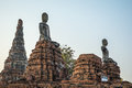 Broken Buddha statues in Wat Chaiwatthanaram Royalty Free Stock Photo