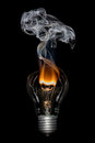 Broken Bulb with Smoke - Bournout Royalty Free Stock Photo