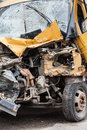 Broken car road accident crash damaged or wreck vehicle Royalty Free Stock Photography