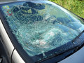 Broken car window pane after an accident Royalty Free Stock Photography