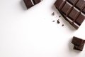 Broken chocolate bar isolated top view Royalty Free Stock Photo