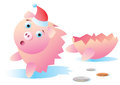 Broken Christmas Piggy Bank Royalty Free Stock Photo