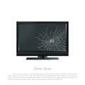 Broken computer monitor. The screen cracked. Damaged TV Royalty Free Stock Photo