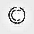 Broken copyright symbol with shadow